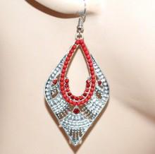 ORECCHINI donna argento strass perline rosse etnici pendenti ragazza regalo CC93