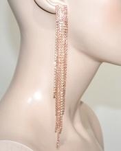 ORECCHINI donna argento strass rosa corallo fili pendenti lunghi eleganti G43