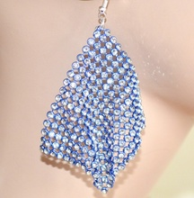 ORECCHINI donna BLU eleganti STRASS pendenti CRISTALLI sexy brillantini earrings 1405