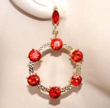 ORECCHINI donna oro dorati cristalli rossi cerchi pendenti martellati strass сережки CC82