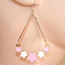 ORECCHINI donna ORO ROSA BIANCO pendenti stelle ciondoli dorati ragazza pendientes CC223