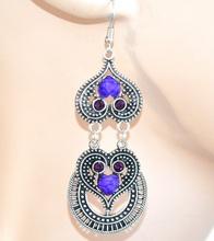 Orecchini donna ragazza  argento pietre viola strass pendenti cuori brillantini F60