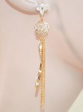 ORECCHINI ORO donna eleganti fili pendenti strass fiore cristalli cerimonia 1099