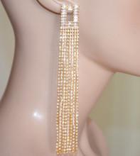 ORECCHINI ORO donna MULTI FILI extra lunghi pendenti STRASS cristalli dorati S80