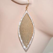 Orecchini oro dorati cerimonia donna eleganti foglia traforati strass brillanti cristalli 319