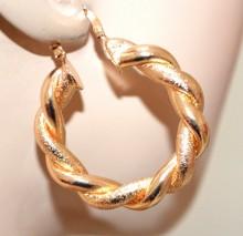 ORECCHINI oro dorati donna cerchi lucidi satinati intrecciati ondulati 4cm BB42P