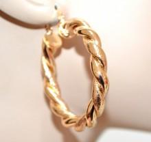 ORECCHINI oro dorati donna cerchi lucidi satinati intrecciati ondulati 5cm earrings BB42M