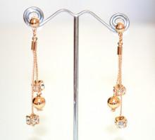 ORECCHINI ORO dorato donna pendenti fili ciondoli sfera cristalli strass eleganti pendientes N50
