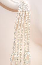 ORECCHINI ORO pendenti lunghi donna eleganti cristalli fili strass sposa cerimonia Z5