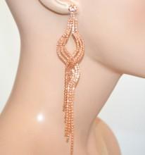 ORECCHINI ORO ROSA CIPRIA CORALLO donna strass cristalli pendenti lunghi eleganti pendientes F20