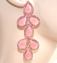 ORECCHINI ORO ROSA CORALLO donna pendenti cristalli strass damigella aretes F175