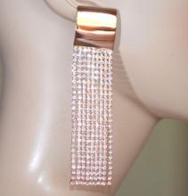 ORECCHINI ORO ROSA donna STRASS fili lunghi pendenti cristalli earrings серьги D2