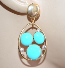 ORECCHINI pendenti oro dorati donna pietre azzurre celesti strass brillantini regalo A69