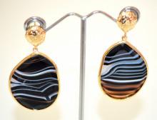 ORECCHINI PIETRA DURA Agata NERI GRIGIO donna bronzo oro dorato pendenti stone earrings P12