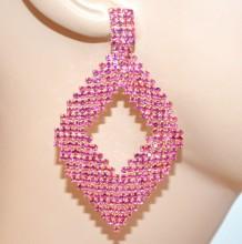 ORECCHINI ROSA FUCSIA oro donna cristalli pendenti ovali strass cerimonia eleganti kolczyki BB64