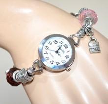 OROLOGIO donna da polso bracciale argento ciondoli charms cuori cristalli BB38