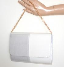 POCHETTE bianca argento donna borsa borsello brillantini elegante clutch bag sac G24