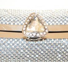 POCHETTE donna ARGENTO borsello elegante da sposa CRISTALLI strass borsa da cerimonia clutch E45