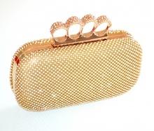 POCHETTE ORO CRISTALLI borsa donna borsello strass elegante dorata da cerimonia L15