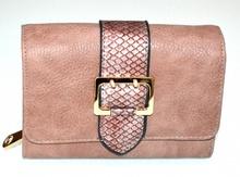 PORTAFOGLIO BEIGE ROSA donna fibbia oro borsello a mano portamonete eco pelle clutch G1