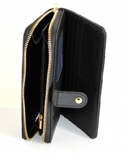 PORTAFOGLIO NERO borsello donna zip oro pochette portamonete borsa A4