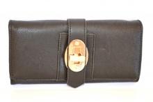Portafoglio nero pelle borsellino donna fibbia dorata portefeuille idea regalo 1120