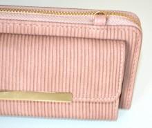 PORTAFOGLIO rosa glicine oro mini borsello donna pochette clutch bag portamonete G90