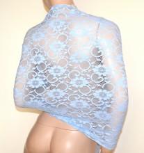 SCIALLE STOLA PIZZO azzurro indaco foulard 30% SETA ricamato donna coprispalle abito cerimonia G30