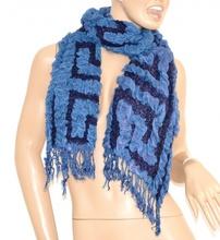 SCIARPA donna lana BLU scaldacollo elegante frange écharpe scarf szalik шарф 40