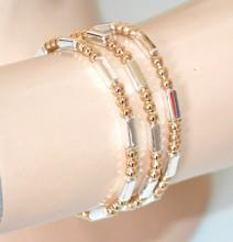 SET 3 BRACCIALI donna argento oro dorato elastici metallo lucido elegante bracelet GP16