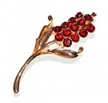 SPILLA donna oro dorata strass cristalli rossi per stola cardigan F10