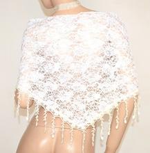 STOLA BIANCA donna scialle coprispalle sposa elegante mantella ricamata pizzo velato cerimonia E150