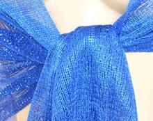 STOLA BLU elegante donna scialle FOULARD FILO frange brillantinato 1020X