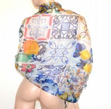 STOLA BLU GIALLO donna maxi foulard seta coprispalle scialle sciarpa velata elegante G74
