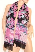 STOLA coprispalle donna foulard nero seta sciarpa abito cerimonia elegante velato fantasia floreale 125A