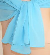STOLA donna AZZURRO CELESTE foulard elegante seta coprispalle velato cerimonia abito da sera Z1