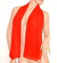 STOLA donna FOULARD coprispalle velo per cerimonia tinta unita elegante seta rosso trasparente 165N
