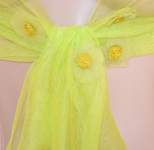 STOLA donna foulard DAMIGELLA coprispalle VERDE velato da cerimonia ELEGANTE floreale 95X