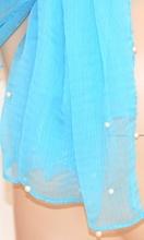 STOLA donna MAXI COPRISPALLE SETA ELEGANTE azzurro foulard VELATO PERLE sciarpa DA CERIMONIA 400D
