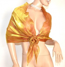 STOLA donna ORO AMBRA da CERIMONIA foulard MAXI coprispalle elegante abito\vestito metallizzata F5