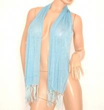 STOLA foulard coprispalle donna da cerimonia elegante CELESTE brillantinata da sera shimmer velata 200L