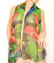STOLA foulard donna verde blu corallo seta velato coprispalle x abito CERIMONIA fantasia floreale 160C