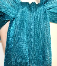 STOLA FOULARD VERDE donna scialle filo rete coprispalle frange cerimonia 1020