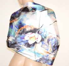 STOLA MAXI donna NERA BLU GLICINE raso satin foulard elegante da cerimonia coprispalle da sera E05
