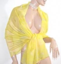STOLA maxi GIALLO ORO elegante foulard donna coprispalle seta velata cerimonia abito da sera H15