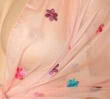 STOLA ROSA CIPRIA donna CERIMONIA MAXI FOULARD coprispalle elegante seta velato FIORI RICAMATI x abito da ser 106P