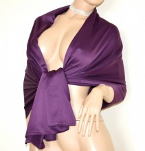 STOLA VIOLA donna maxi foulard seta coprispalle scialle sciarpa raso elegante cerimonia G82