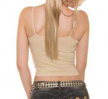 TOP BEIGE NUDE donna canotta sottogiacca maglia corta giromanica t-shirt AZ69
