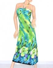 Vestito ABITO LUNGO DONNA fantasia floreale verde celeste bandeau ELEGANTE  da sera 95C 9be37a14c1a