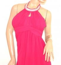 VESTITO ROSA FUCSIA donna elegante ABITO LUNGO strass seta da cerimonia party dress E130